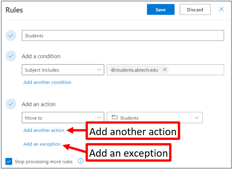 Figure 10. The Rules screen, Add another action, Add an Exception