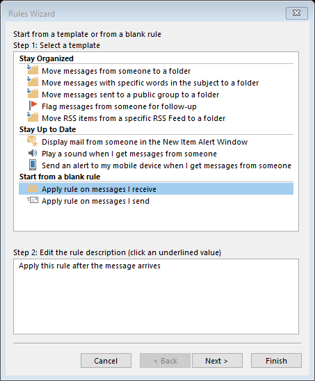 screenshot showing dialogue box in outlook 365