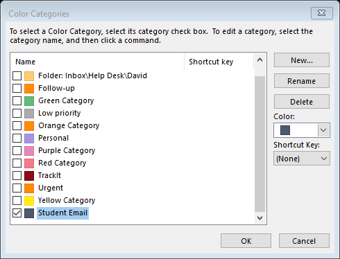 screenshot showing color category selection box outlook 365