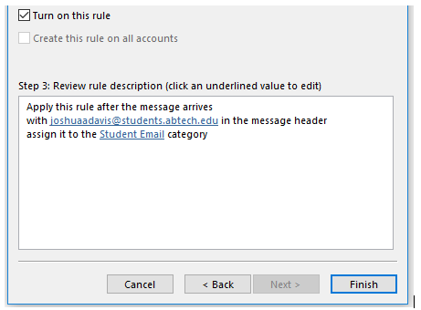 screenshot showing rules wizard in Outlook 365