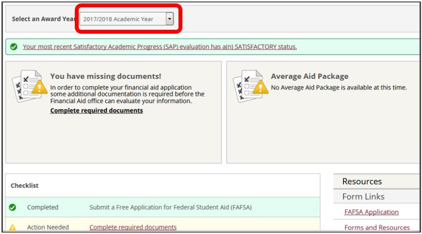 Financial Aid Self-Service homepage