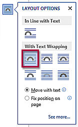 Text wrapping icon. Aids in images with surrounding text