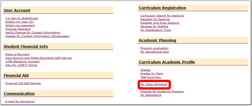 My Class Schedule on Curriculum Students Menu