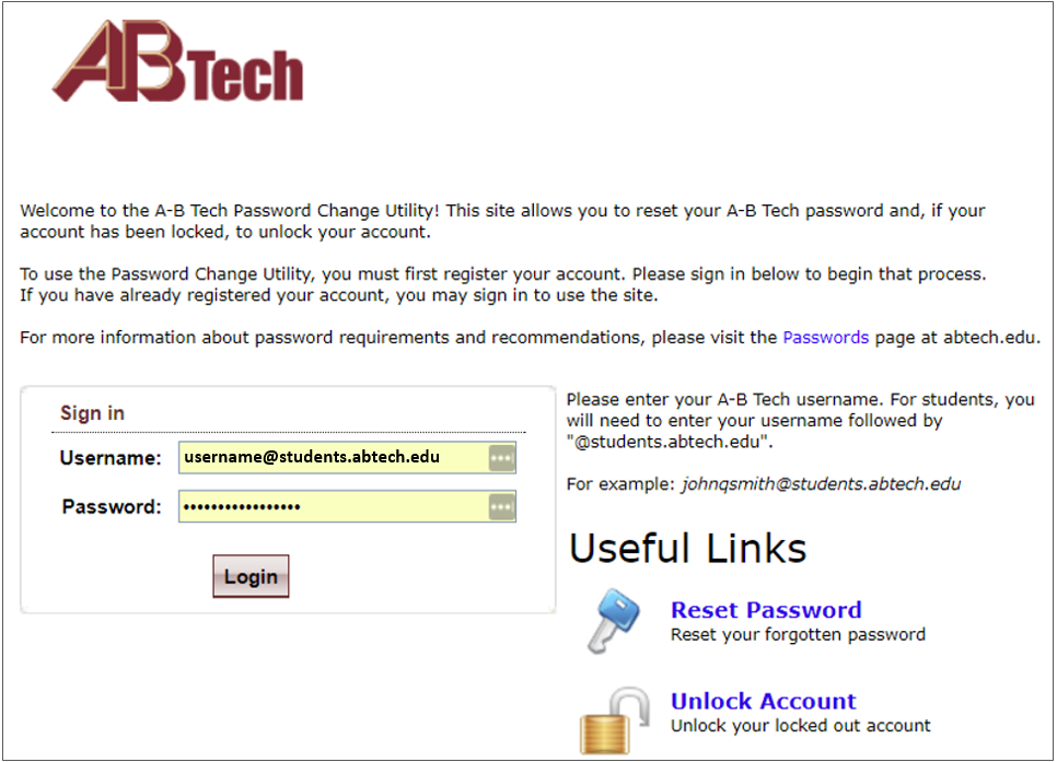Screenshot of the A-B Tech Password Change Utility Sign in page.