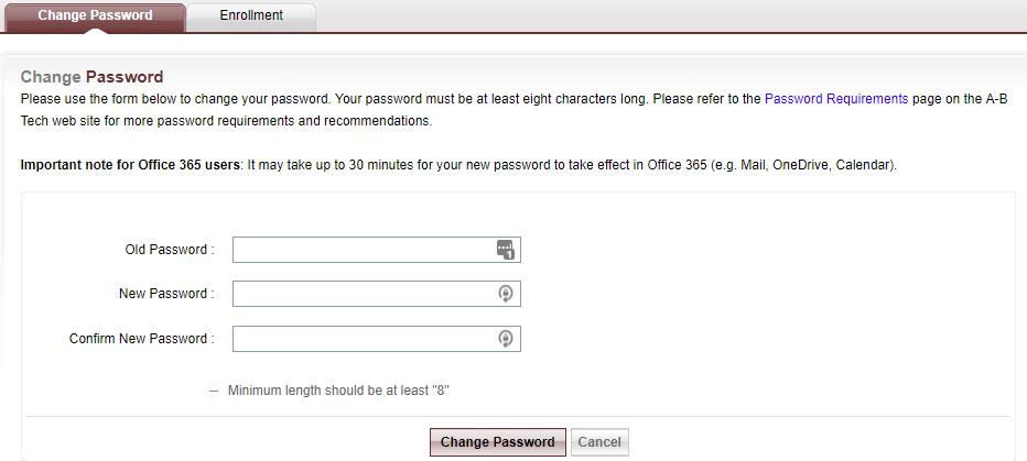 Change Password webpage