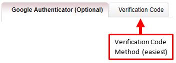 Google Authenticator tab
