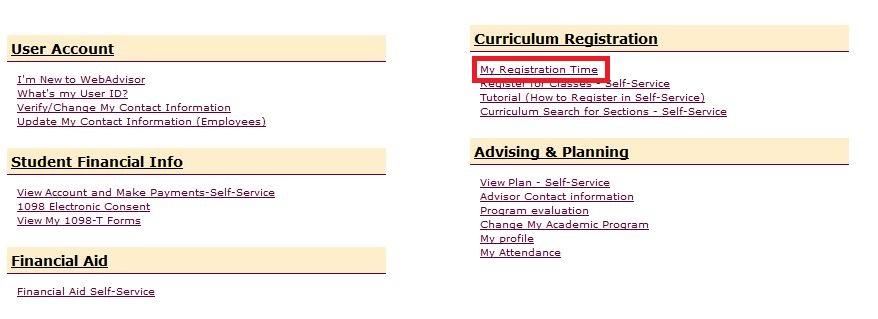 My Registration Time Link