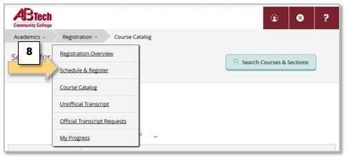 Self-Sevice Registration drop down menu