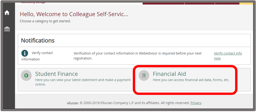 Self-Service Financial Aid tile