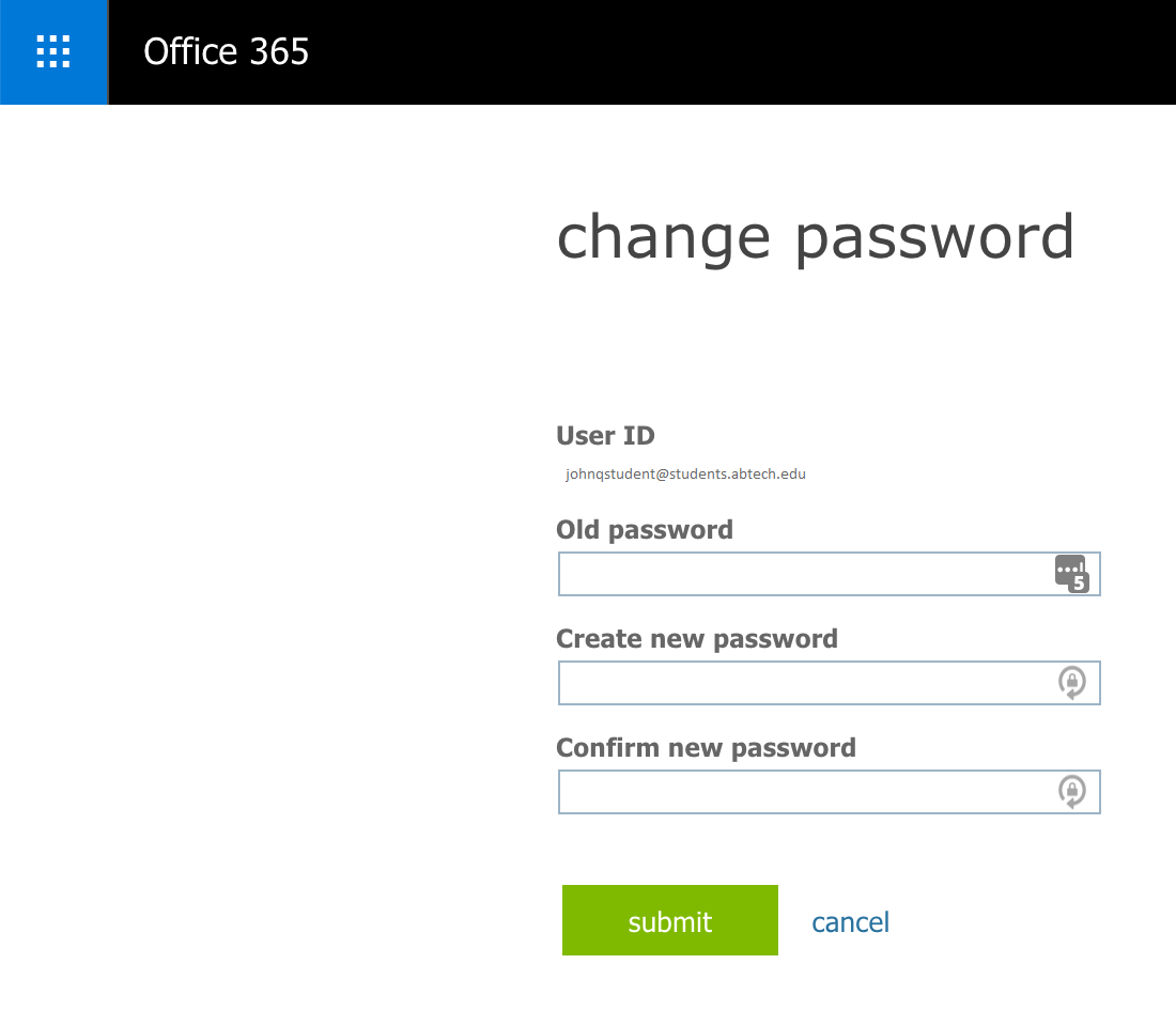 Password change screen