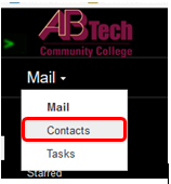 Screenshot of Gmail contacts link