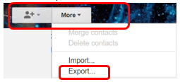 "Screenshot of ""More"" and ""Export"" link"