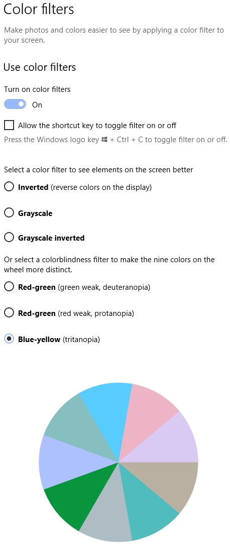 Color Filters settings in Windows
