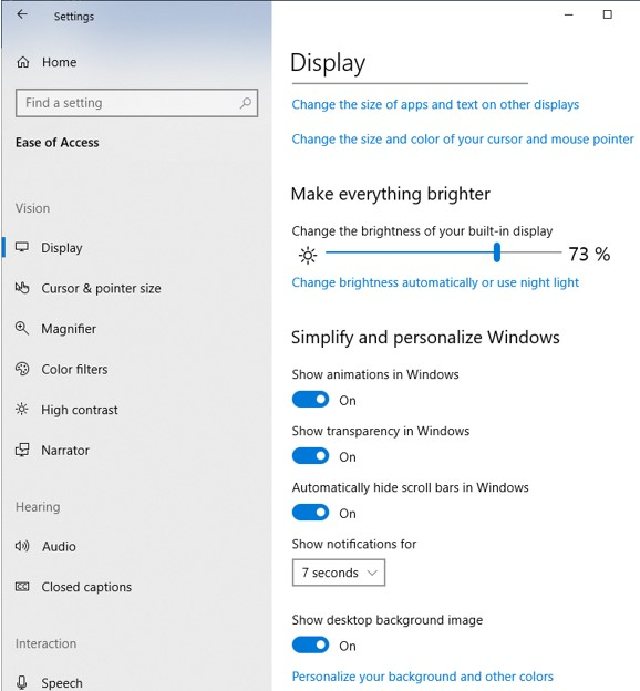 Display Properties in Windows 10 Settings