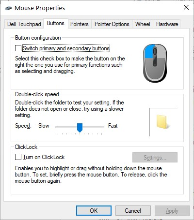 The Buttons Tab in the Mouse Properties dialog box