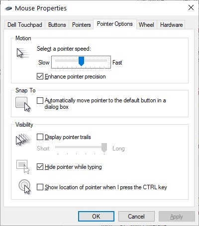 The Pointers Options Tab in the Mouse Properties dialog box