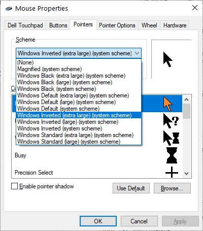 The Pointers Tab in the Mouse Properties dialog box