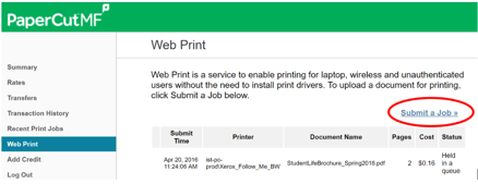 Web print submit a job example