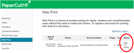 Web Print Status Screen