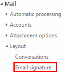 location of email signature link
