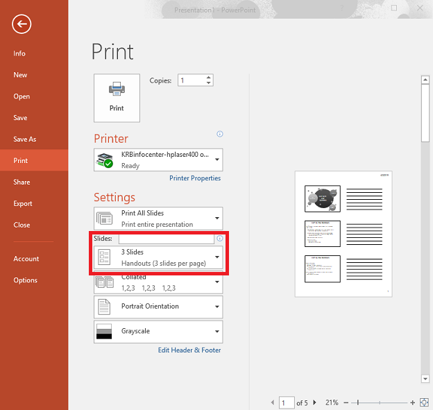 How to Print Multiple PowerPoint Slide Notes On a Single Page