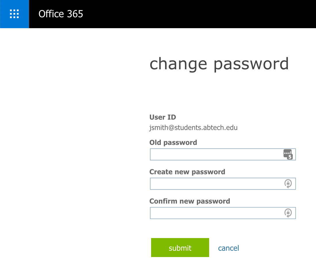 Page with a form that allows the user to change their password