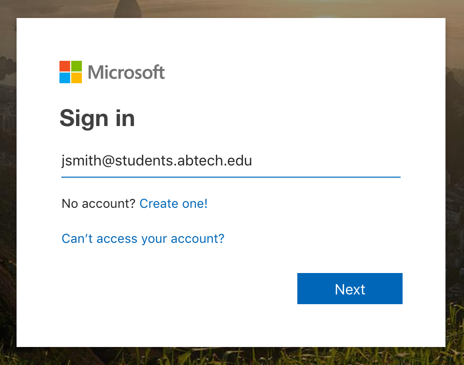 Sign in page prompting the visitor to enter an email address.