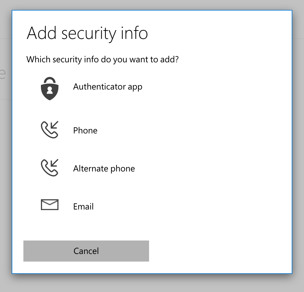 Page prompting the visitor to choose which type of security info to add