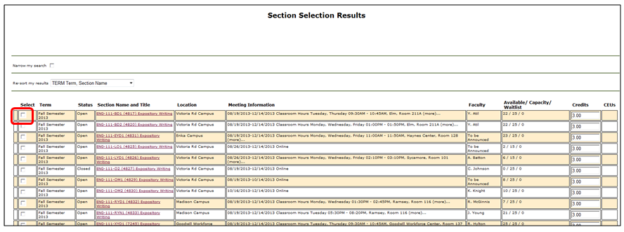 Section Selection Results